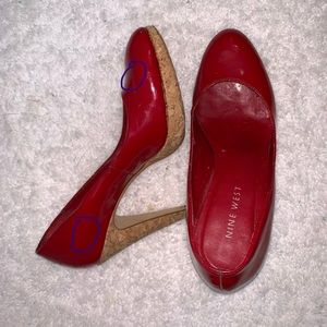 NineWest Cherry Red Patent Leather Cork Heel Pump